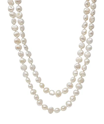 TreasureBay Elegant and Classic 5 in 1 Natural Freshwater Pearl Necklace 120cm Long (Snow White)
