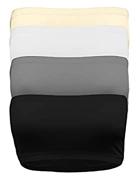 Strapless Bandeau Bra Seamless Stretchy Crop Tube Top Pack Sets of 4 or Single BLK_Char_WHT_TPE