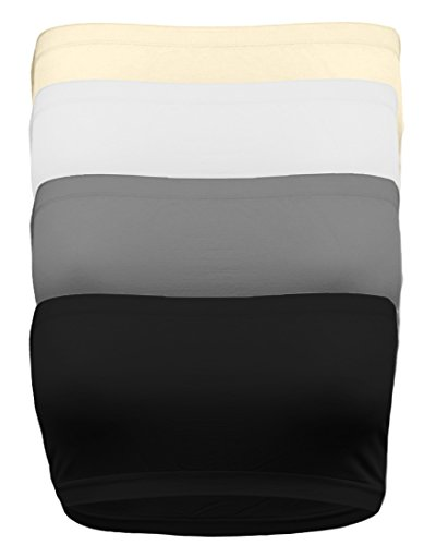 Strapless Bandeau Bra, Seamless Stretchy Crop Tube Top Pack Sets of 4 or Single BLK_Char_WHT_TPE
