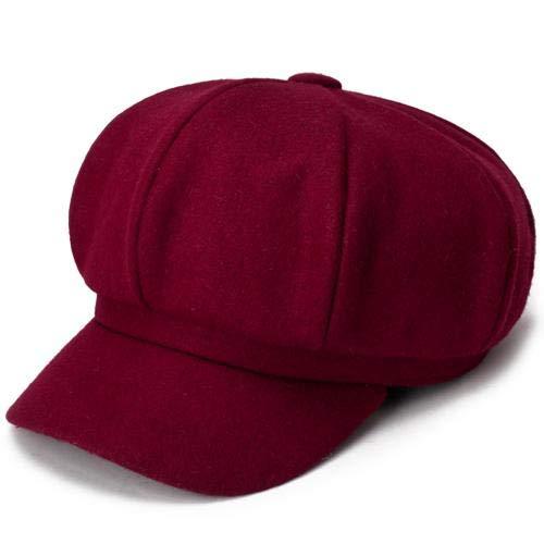 WAZHX Sombrero De Mujer Otoño Invierno Moda Cálida Sombrero Octogonal Paño De Lana Boina Informal Gorra Sólido Artista Pintor Vendedor De Periódicos Sombreros Negro Gris Vino Rojo