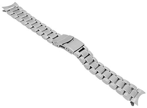 Minott Edelstahl Ersatzband Rundanstoß - massiv, teils glänzend, teils matt - Faltschließe 29925, Stegbreite:20mm