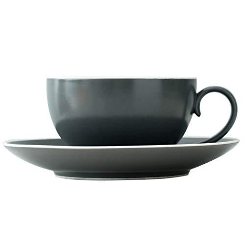 GAOYADS Elegante Juego de Taza de café, Taza de café de cerámica y platillo, Taza de té Negro Creativa británica, Taza de café Negro con Leche para el té de la Tarde Familiar