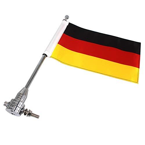 GUAIMI Motorrad Flaggehalter Fahnenstange Fahnenmast mit Deutschlandfahne für Harley Davidson Goldwing CB VTX CBR - Chrom