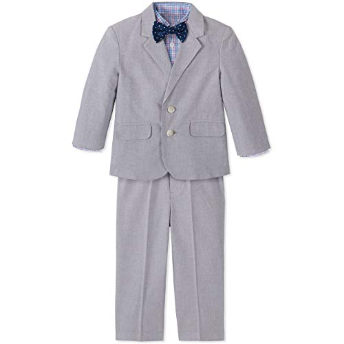 Nautica Baby Boys 4-Piece Suit Set with Dress Shirt, Jacket, Pants, and Bow Tie, Mouse Grey, 18 Months