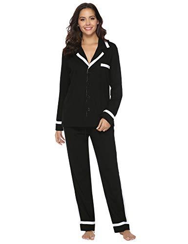 Aibrou 100% Algodón Pijamas Mujer Invierno de Mangas Largas Pantalones Largo 2 Piezas, Cómodo y Transpirable