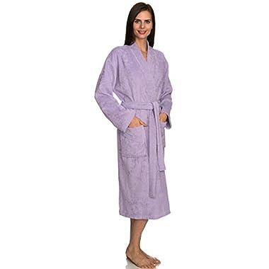 TowelSelections Women's Robe Turkish Cotton Terry Kimono Bathrobe Large/X-Large Pastel Lilac