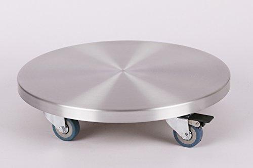 Möbelroller/Pflanzenroller (Profi) Ø 30 cm, ALU, 150kg, PU-Rolle + Bremse, Marke: Szagato, Made in Germany (Design-Pflanzenroller Transportroller Rollbrett)