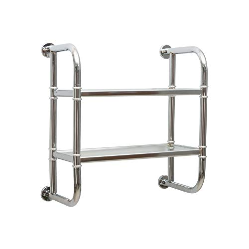 Organize It All 2 Tier Chrome Pipe Mounted Tempered Glass Bathroom Storage Shelf
