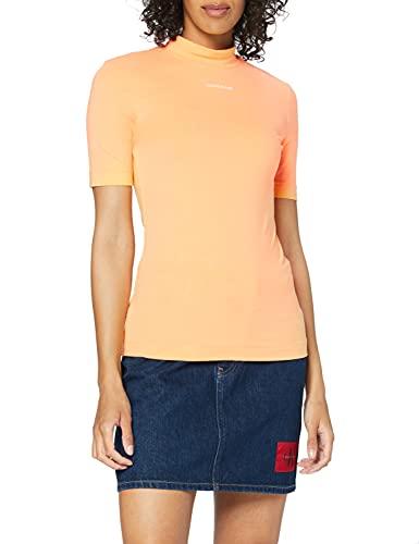 Calvin Klein Jeans Micro Branding Stretch Mock Neck T-Shirt, Arancione schiacciato, XS Donna