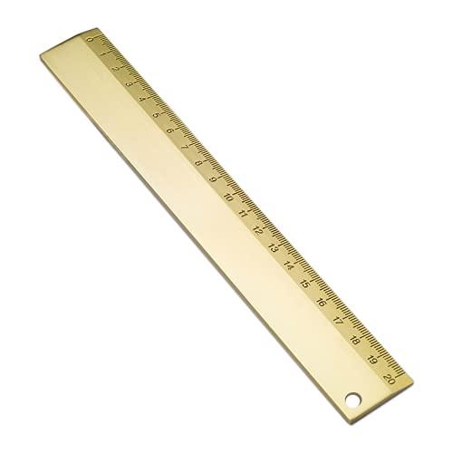 ルーラー 真鍮定規 直定規 直線定規 直ルーラー メジャー定規 測定ツール 測定定規ツール 測定工具 生徒 教師 エンジニア ホーム オフィス 図面用の定規ツール 20cm(ゴールド)