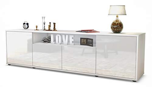 Stil.Zeit TV Schrank Lowboard Arianna, Korpus in Weiss matt/Front im Hochglanz-Design Weiß (180x49x35cm), mit Push-to-Open Technik, Made in Germany