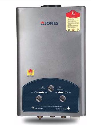 Jones Euro Dlx 7 Litre Vertical Gas Geyser (Instant Water Heater,Silver)- 5 Star with Warranty