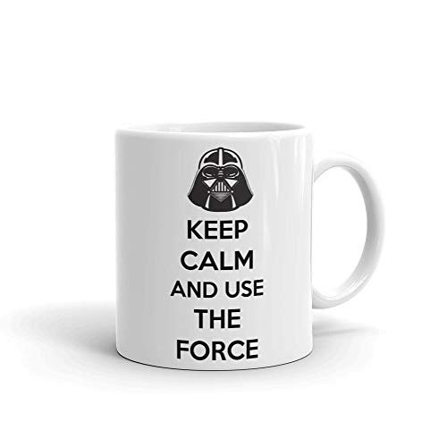 Keep Calm And Use The Force Star Wars Inspired Ceramic Mug, White, 330ml
