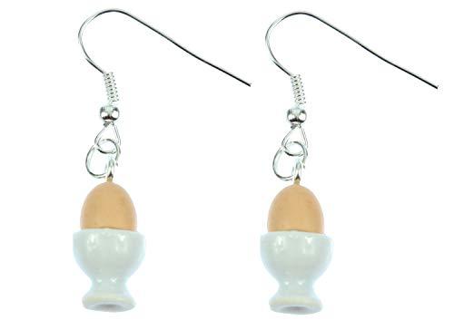 Miniblings Eierbecher Ei im Becher Ohrringe Hänger Eier Frühstücksei Porzellan - Handmade Modeschmuck I Ohrhänger Ohrschmuck versilbert