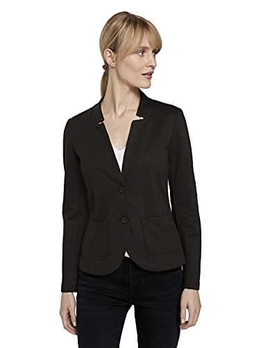 TOM TAILOR Damen Basic Jersey Blazer, Schwarz (14482-Deep Black), XS