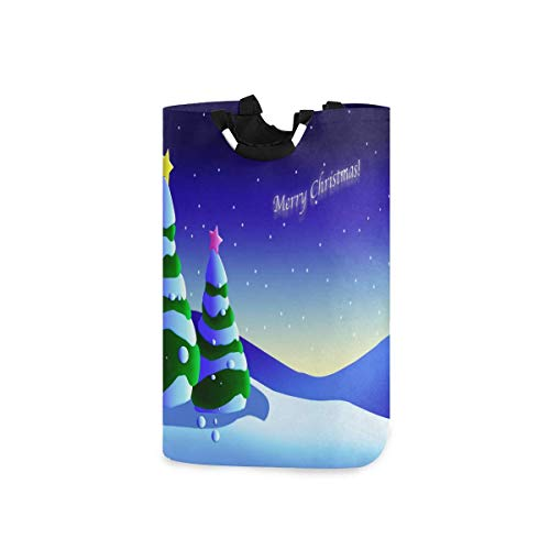 N\A Cartoon Christmas Tree Background Large Folding Laundry Basket Foldable Self-Standing with Handles Portable Washing Storage Tote Bag