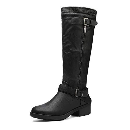 DREAM PAIRS Women's Turtle Black Knee High Motorcycle Riding Winter Boots Wide Calf Size 11 M US