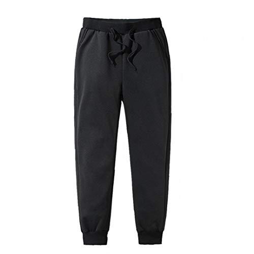 LAANCOO Cálido Casual Pantalones Térmicos De Forro Polar Negro Pantalones De Chándal De Invierno Para Hombres M
