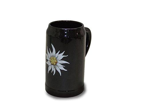 Sunny Toys 14989 - Jarra de Cerveza de Porcelana (1 L, Apta para lavavajillas), diseño con Flor de Las Nieves, Color Negro y Blanco