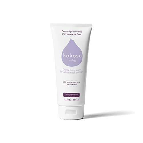 Kokoso Baby Wash and Shampoo - Organic & Natural for Delicate Skin, Scalp and Hair - Fragrance Free
