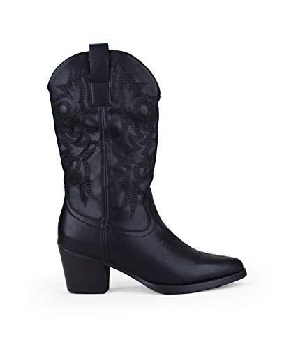 BOSANOVA Bota campera Negra Estilo Cowboy con tacón para Mujer   Detalle de Cosido Decorativo en la caña y Cierre con Cremallera   Negro 38
