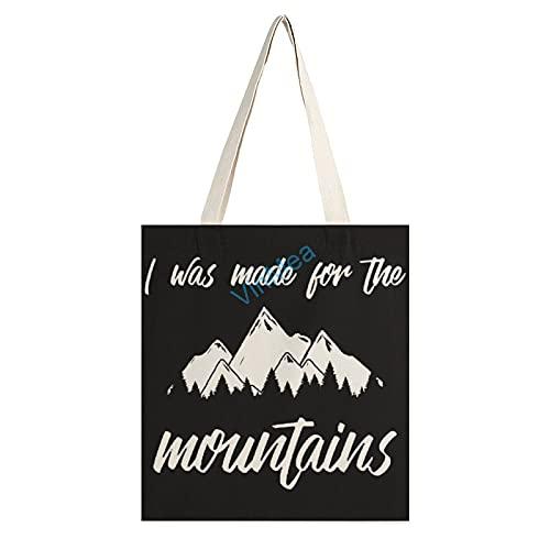 VinMea Bolsa de lona informal – I was made for the Mountains, bolsa de compras reutilizable para mamá regalos bolsas de hombro