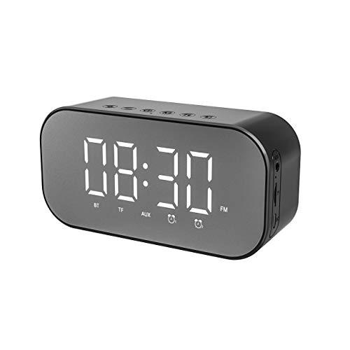 BOXIANGY Reloj Despertador Reloj Espejo Altavoz Bluetooth S5 Plus Negro