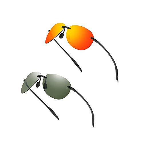 LVYY Polarisierte Sonnenbrille fährt for Frauen und Männer Retro Style Simple Classic Mode 2 Paare (Color : C2)