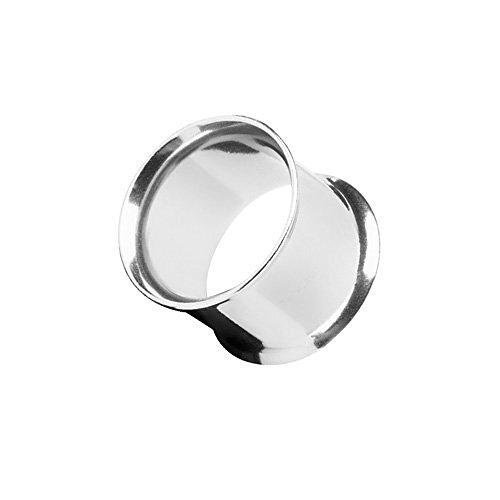 Piercingfaktor Flesh Tunnel Ear Plug Ohr Piercing Tribal Double Flared Plug aus Edelstahl 28mm Silber