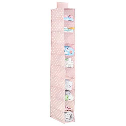 mDesign Organizer armadio con 10 scomparti – Portatutto pensile in stoffa con motivo a pois – Organizzatore armadio ideale per la cameretta – rosa/bianco