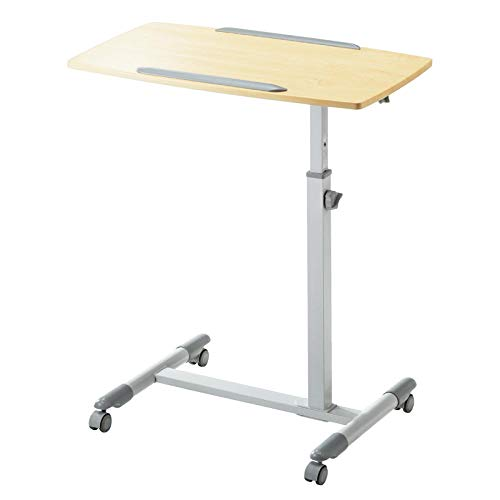 Aluminum Alloy Portable Tables Folding with Wood Color Density Board,Adjusable height, Lockable Casters,Home Desks for Breakfast In Bed