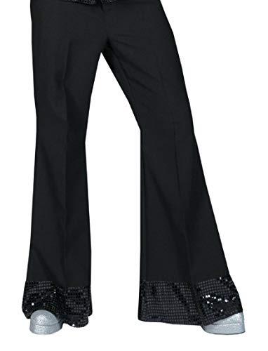 Generique - Pantalon Disco Noir avec Sequins sur Le Bas Homme Taille M