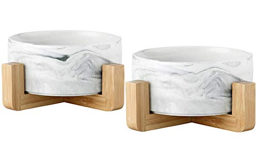 AG-UNICORN Ceramic Pet Bowls Set with Bamboo Stand