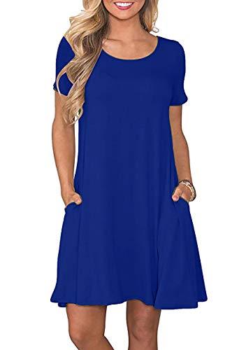 OMZIN - Vestido de mujer para el tiempo libre, túnica de Minilang, tallas XS a XL azul L