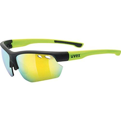 uvex Unisex– Erwachsene, sportstyle 115 Sportbrille, inkl. Wechselscheiben, black mat yellow/yellow, one size