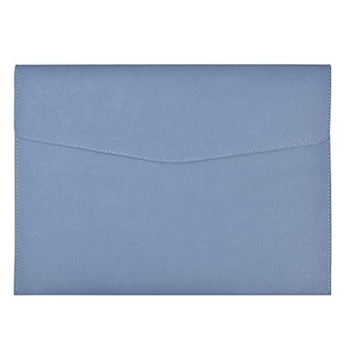 smatime A4 Cartelline Portadocumenti Borse di File in PU Pelle Cartelle File Sacchetto del Documento Portafogli di File Buste A4 Impermeabile Organizzatore di Documenti per Scuola Casa e Ufficio, Blu