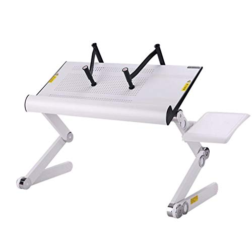Portable Opvouwbaar Verstelbare klaptafel for Laptop Desk Computer Mesa Para Notebook Stand Tray for een slaapbank (Color : White)
