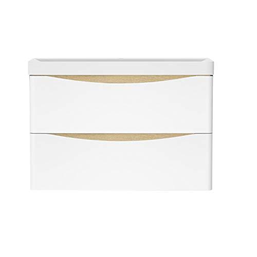 Xinyang Mobile da bagno sospeso 80 cm bianco + rovere con doppi cassetti e lavabo in pietra artificiale bianca