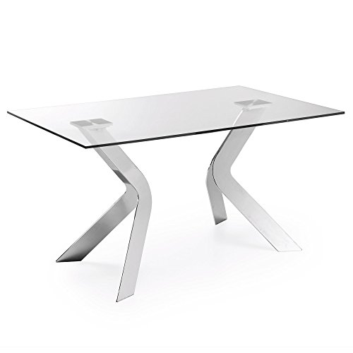 Kave Home Westport - Mesa de comedor rectangular (150 x 90 cm, cristal con patas de acero)