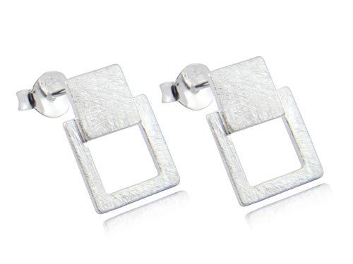 Nature Rebel Pendientes de plata de ley 925 cepillada, cuadrados, minimalistas