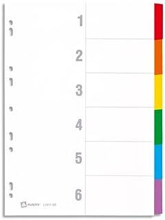 AVERY - Intercalaires en carte à 6 touches neutres en couleurs assorties, Format A4 + (permet de classer des pochettes per...