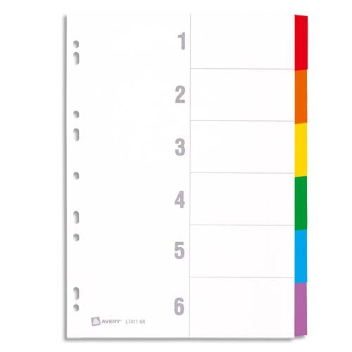 AVERY - Intercalaires en carte à 6 touches neutres en couleurs assorties, Format A4 + (permet de classer des pochettes perforées)