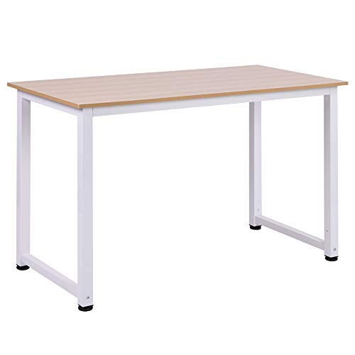 HOMCOM Mesa de Ordenador Escritorio para Hogar Oficina con Pies Ajustables Mobiliario Simple de Oficina 120x60x76cm Carga 100kg Marco Metal