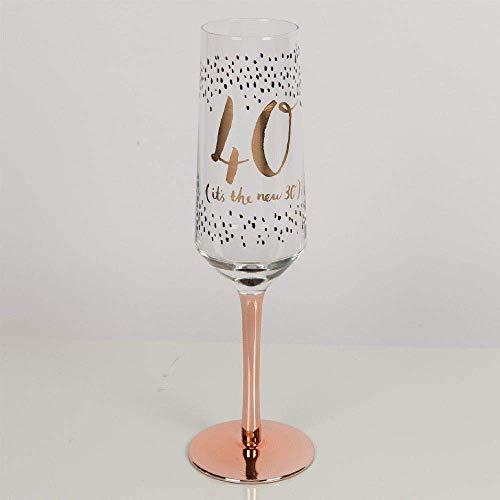 Widdop & Co Luxus Champagnerflöte Proseccoglas mit Stiel aus Rotgold zum 40. Geburtstag