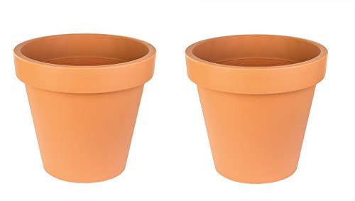 2x Blumentopf 58 cm aus Kunststoff - Terrakotta - Pflanztopf Containertopf Übertopf Pflanzkübel rund - Drainage-Möglichkeit
