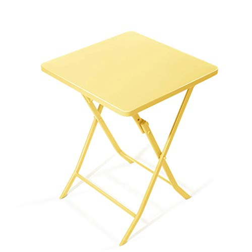 Petite Table d'appoint Pliante carrée Table d'appoint de canapé Table d'appoint Table d'appoint Snack Metal Balcon Bureau Bureau (Color : Yellow)