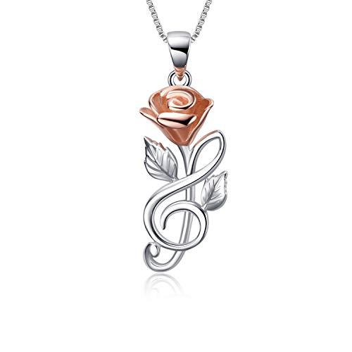 Rose Halskette Sterling Silber Rose Gold Musiknote Rosen Blumen Anhänger Halskette Schmuck Geschenke für Frauen Mädchen Ihre Freundin Frau (Rosen halskette mit 18