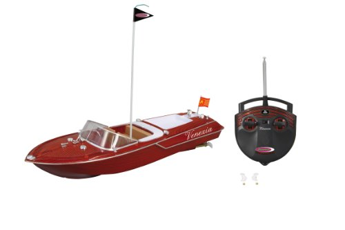 Jamara 040390 - Venezia 2 Kanal 40Mhz - 2 Antriebsmotoren mit Sicherheitsfunktion! Schiffsschrauben drehen sich nur im Wasser,Stahl Antriebswellen,hochwertiger Holzoptik, Schnellverschlüssen,LED an RC