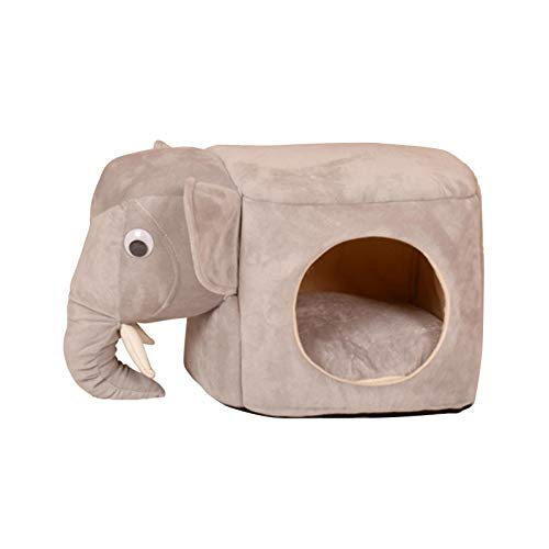 guangtouqiang Cat Bed Cave Cute Elephant Cat House,Cat Houses for Indoor Cats,Cat House with Cushion,for Home,Garage,Balcony,Bar