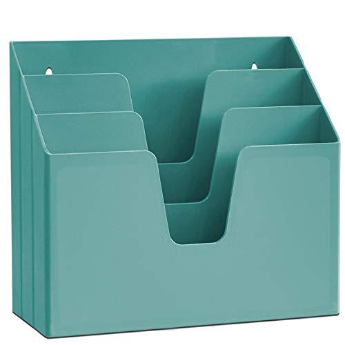 Acrimet Organizador Horizontal de 3 Compartimientos Para Escritorio o Pared (Color Verde Solido)